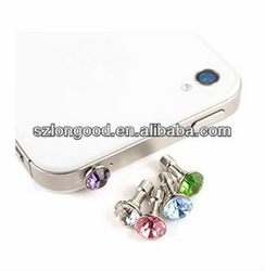 Bling Diamond Anti Dust Plug Ear Cap For iPhone 2/3GS/4S/5G/for IPOD