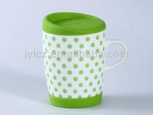 ceramic coffee mug with handle and silicone lid