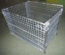 Folding steel pallet storage cage metal mesh pallet cage