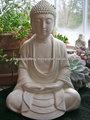 Branco estátua de buda- a luz de cimento, vidros& ao ar livre indoor, stone estátua de buda