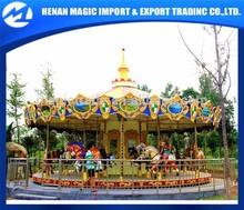 Attractive theme amusement park electric fiberglass carousel horses for sale