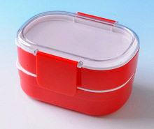 Two tier stackable bento box and container for soup