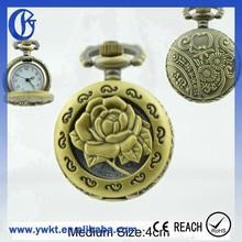 round pocket watch flower style vintage pocket watch chain cheap pocket watch