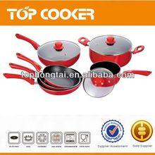 Red color 9pcs aluminium nonstick cookware