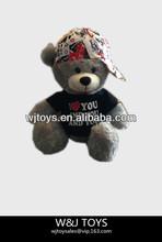 grey stuffed plush teddy bear clothing t-shirts with teddy bear wholesale