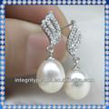 925 de plata de ley más reciente diseño de pendientes de perlas