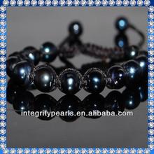7mm black pearl bracelet design with adjustable length