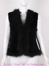 women rabbit fur knitted vest