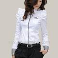 las mujeres blancas de oficina camisa camisa de las señoras únicos camisa de trabajo