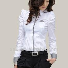 White Women Shirt Office shirt Unique Ladies Work Shirt