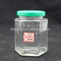 Embalagens de frascos de vidro 280ml, hex frascos de vidro com tampas, alimento da embalagem de geléia de vidro frascos feitos na china