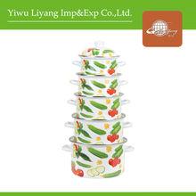 5 pcs Vegetable Decal Enamel Casserole Sets Enamel Porcelain Cookware With Lids Stove-top Cooking Pot