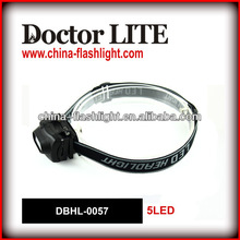 1 Year Warranty Dry Battery ABS 5 LED Headlamp For Outdoor Using