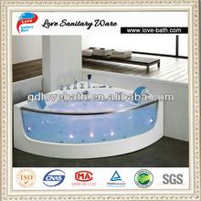 glass water jet and light free standing massage small corner bathtub 1380mm dimension