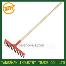 long wooden handle garden grain gravel rake