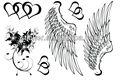Coeur ailes d'ange avec des ailes dessins de tatouage tatouages