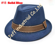 Fashion Hats 2015 Solid Blue with Band Fancy Caps for Children Fedora Hats Fancy Baby Fedoras