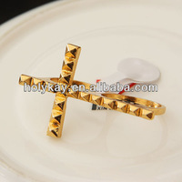 2014 new design gold plating ring, crucifix two fingers ring