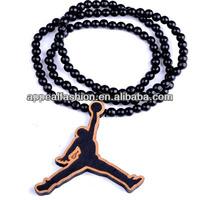 basketball designer pendant wood necklace vintage handmade jewelry