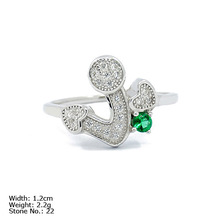 [RZ3-0004] 925 Green Silver Jewelry Ring with CZ Stones Colorful Ring