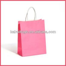 Solid Pink Print Kraft Paper Gift Bag Wholesale