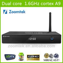 New Aluminium Zoomtak M6 Internet TV Box Indian Channels Amlogic 8726 Dual Core 1080P Wifi Antenna Latest XBMC