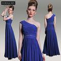dorisqueen navio da gota moq 1pc nova chegada de um ombro frisada long real azul vestidos de baile 2014