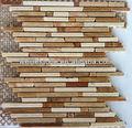 Travertino rosso e beige travertino mosaico stip, colorato misto mattonelle del travertino mosaico