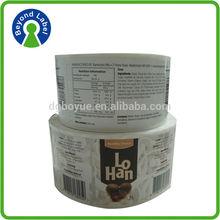 Various color Waterproof stickers,print food packaged cheap self adhesive labels