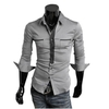 Men black and white check causal shirt cotton mix - 2014 High quality slim fit check boys causal shirts