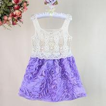 Viste la nueva moda 2015 verano de la muchacha del cordón azul de los niños de princesa Dress para K ids desgaste GD30721-15
