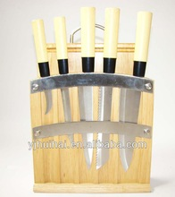 5 PCS wood Handle Japanese Knife Set with wooden cutting board