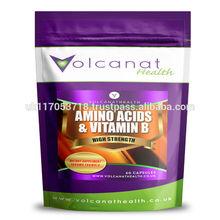 Amino Acids & Vitamin B 1000mg Capsules Dietary Supplement Pills Volcanat Health Premium Foil Pack