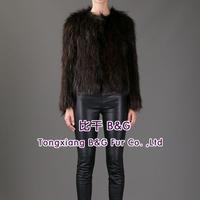 BG60216 New Style Fashion Women Short Real Racoon Dog Fur Jacket Women Fur Jacket