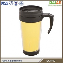 Promotional BPA free double wall plastic mug with handle