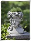 Smile girl face stone flower planter