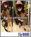 Vestido mais recente projeto para as crianças, leopardo algodão girls kids vestido