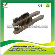 Wood Handle Cooper Wire Brush with scraper