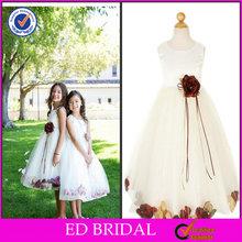 elegante dupioni corpete de cetim com flor flutuante pétalas baratos flor menina vestidos