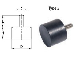 Supply rubber bumper with bolt Male outside types 100MM diameter *55MM height with M16 screw