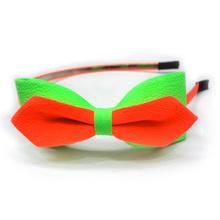 Fresh Brilliant Fluorescence Green And Orange Nalo Chiffon bowknot headbands For Gilrs
