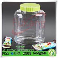 transparent 2L plastic bottle for chocolate food with handle cap,PET plastic oval jars wholesale