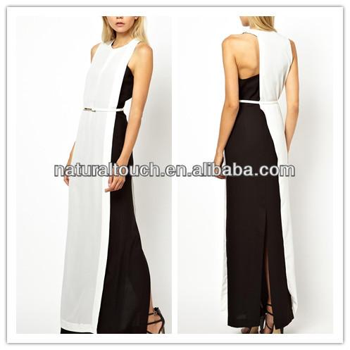 الملابس الصينية مصنعين، الأبيض/ اللون الأسود فستان ماكسي، لحفلة موسيقية اللباس( ylq04103)