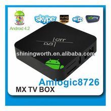 OEM/ODM DVB/T/T2/S2/ISDB-T STB shiningworth aml8726-mx android dvb tv box with HD tuner