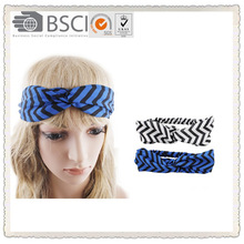 American and EU popular chiffon stripe print elastic cross hair wrap