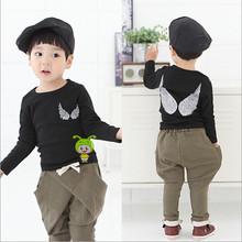 Top quaility custom boys angel black clothes long sleeve plain kid shirt