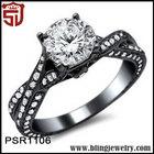Women Accessory Black Rhodium Plated Transparent Diamond Artistical Rings
