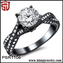Women Accessory Black Rhodium Plated Transparent Diamond Artistical Rings