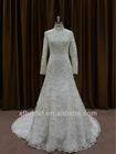 2014 new style muslim tea lengh long sleeves lace bridal wedding gown