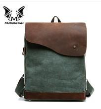 2014 low price crazy horse leather men bag &canvas messenger bag